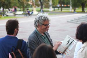 Bart De Baere, curator of the Biennale with the FUCKi̶s̶m̶ artwork